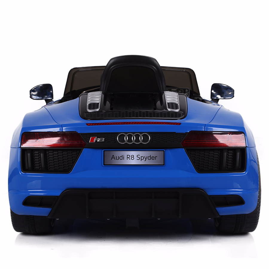 voiture de sport lectrique 12v pour enfant audi r8 spyder cristom bleu. Black Bedroom Furniture Sets. Home Design Ideas