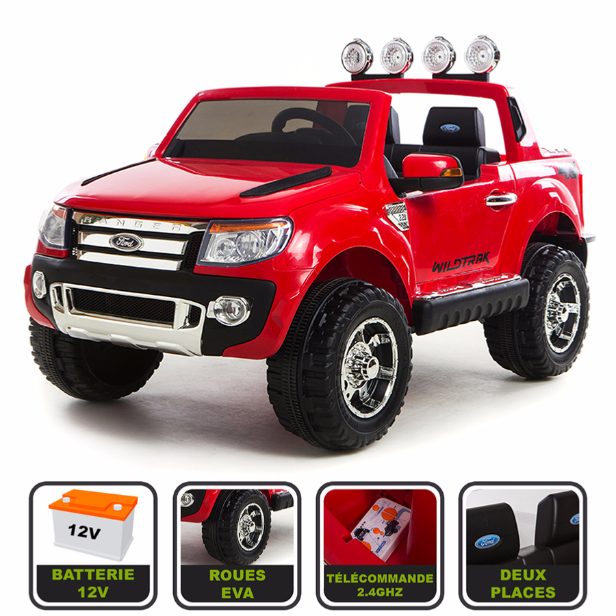 4x4 lectrique 12v pour enfant ford ranger wildtrak cristom rouge. Black Bedroom Furniture Sets. Home Design Ideas