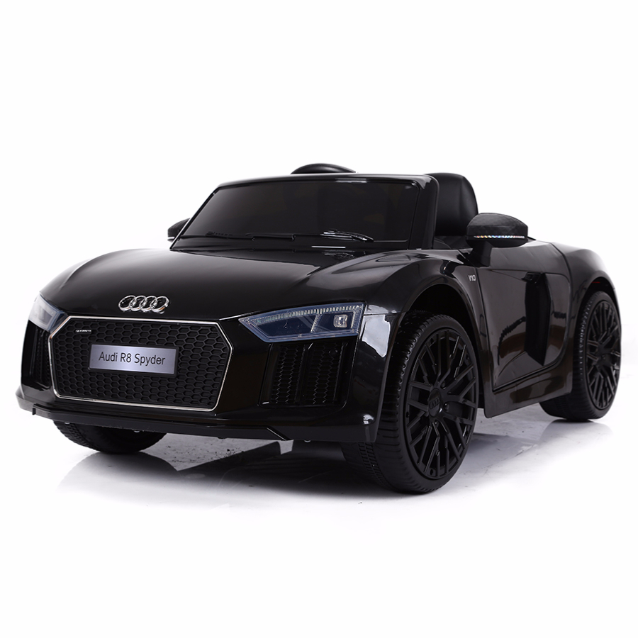 voiture de sport lectrique 12v pour enfant audi r8 spyder cristom noir. Black Bedroom Furniture Sets. Home Design Ideas