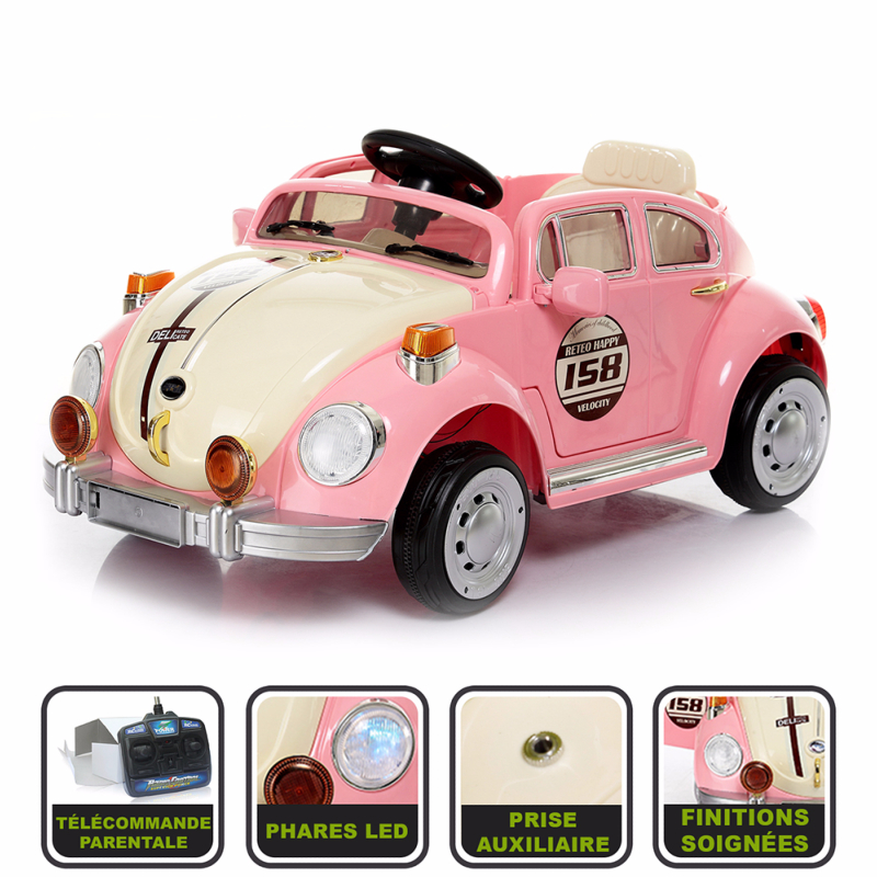 voiture lectrique pour enfant 12v avec t l commande parentale look vintage cristom rose. Black Bedroom Furniture Sets. Home Design Ideas