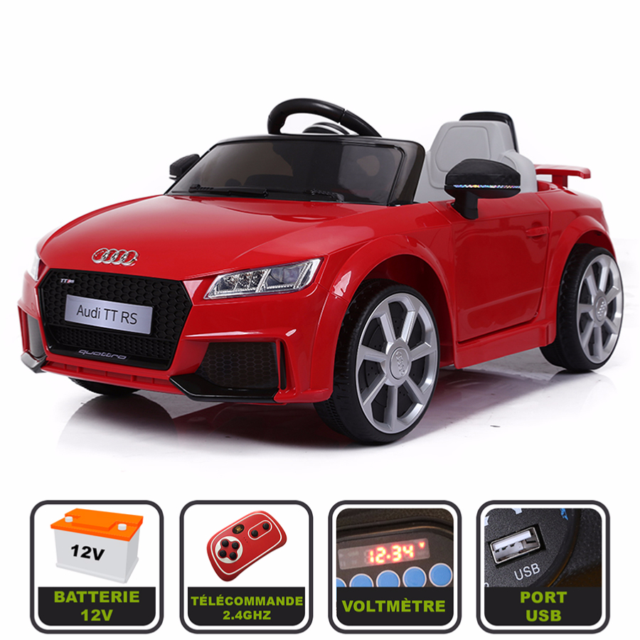 Voiture de sport électrique 12V pour enfant Audi TT RS Cristom® - Rouge 872f5a5f7fba