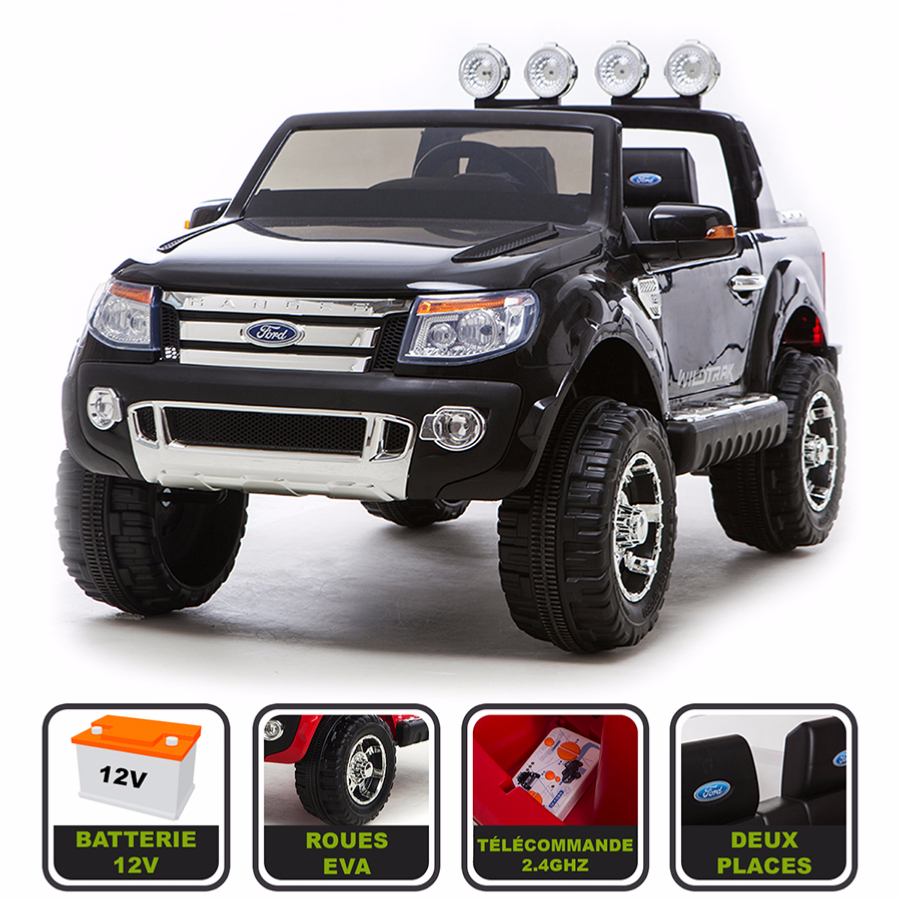 4x4 lectrique 12v pour enfant ford ranger wildtrak cristom noir. Black Bedroom Furniture Sets. Home Design Ideas